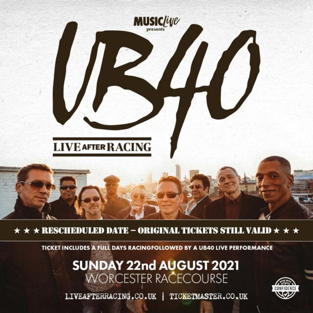 🎵 Rescheduled date 🎵  In response to the Government's recent release of their road map and as large scale events are not permitted until after 21st June, the @ub40official Live After Racing event at @worcesterraces scheduled for Saturday 12th June can no longer take place.  We are however delighted to announce that this event will now be rescheduled to Sunday 22nd August.  Everyone at Live After Racing would like to thank UB40 and their team for their help and support under these difficult circumstance and are very much looking forward to what is sure to be a night to remember.  Tickets for the original date remain valid and refunds are available from point of purchase should customers be unable to attend the rearranged date.  🎟 >> https://bit.ly/3rEbFq2