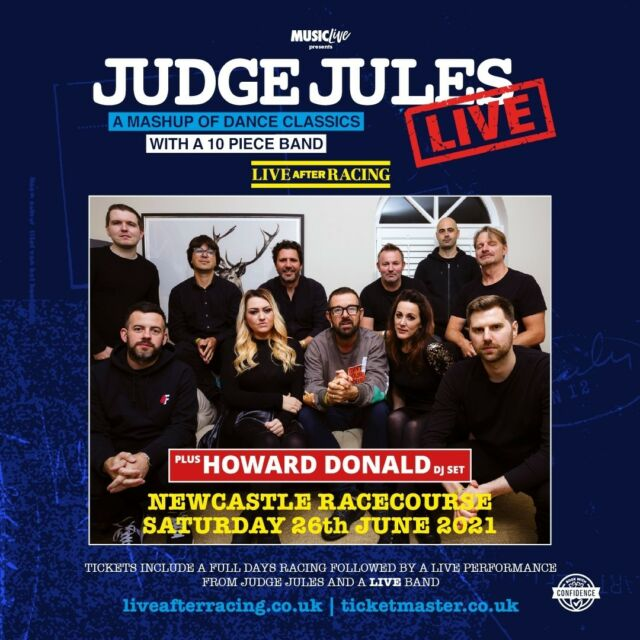 @realjudgejules will be performing Live After Racing at @newcastleraces on Saturday 26th June - complete with a full live band and an opening set from DJ @howarddonald! 😎  🎟 on sale now >> https://bit.ly/3wWHe14
